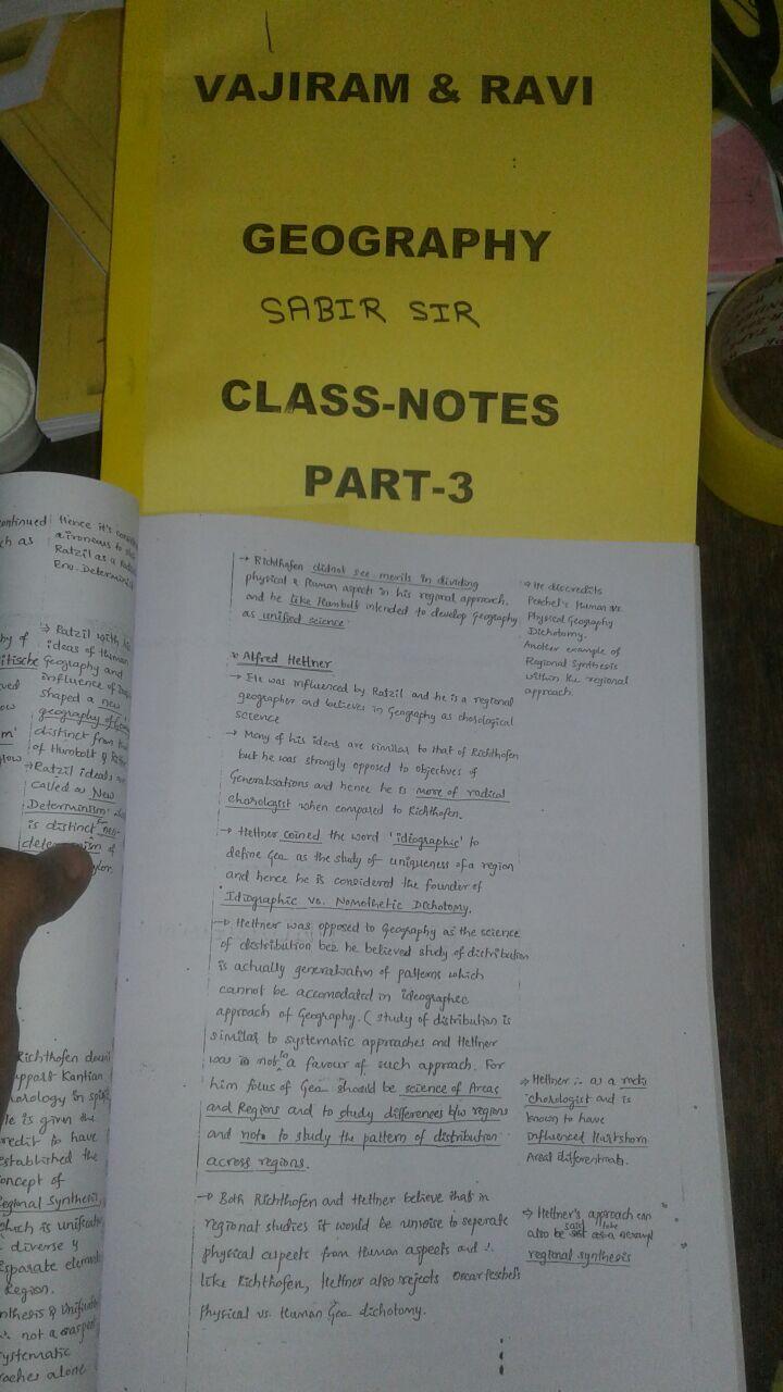 Sabbir Sir (Vajiram) - Geography Optional – Handwritten Class Notes