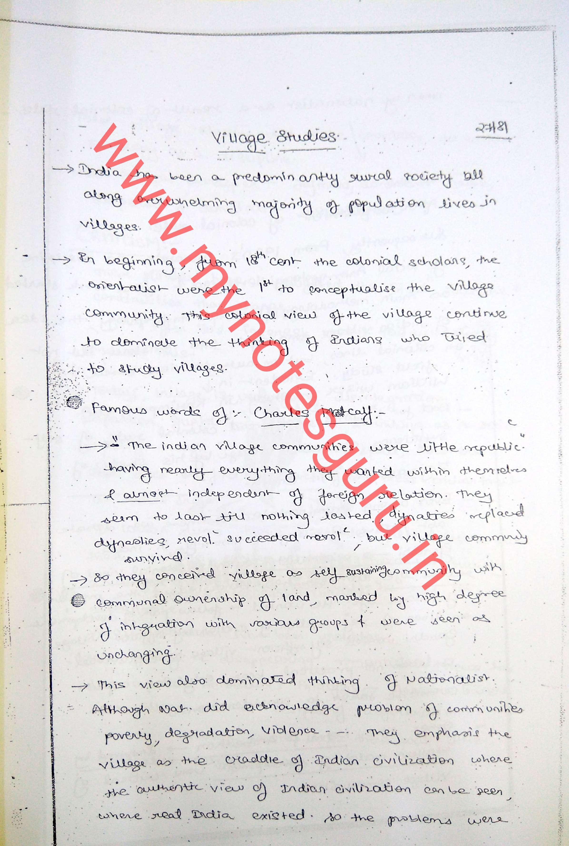 Upendra Gaur - Sociology - Handwritten Class Notes