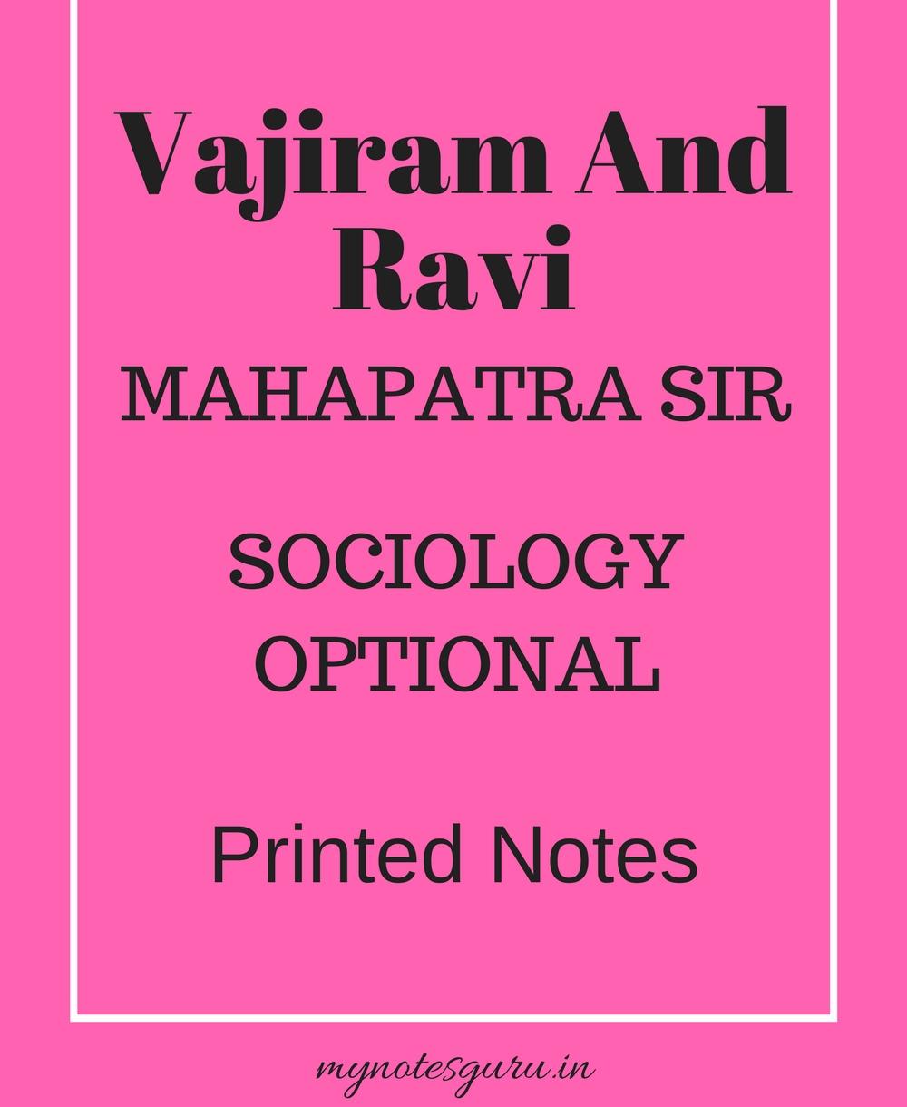 Vajiram And Ravi - Mahapatra Sir - Sociology Optional - Printed Notes