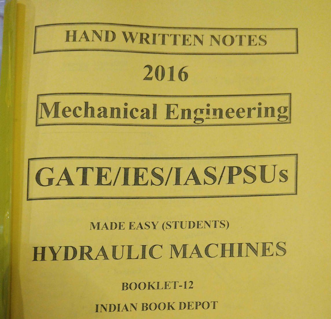 Made Easy - Mechanical Engineering - IES Study Material - English Medium -  Handwritten Class Notes