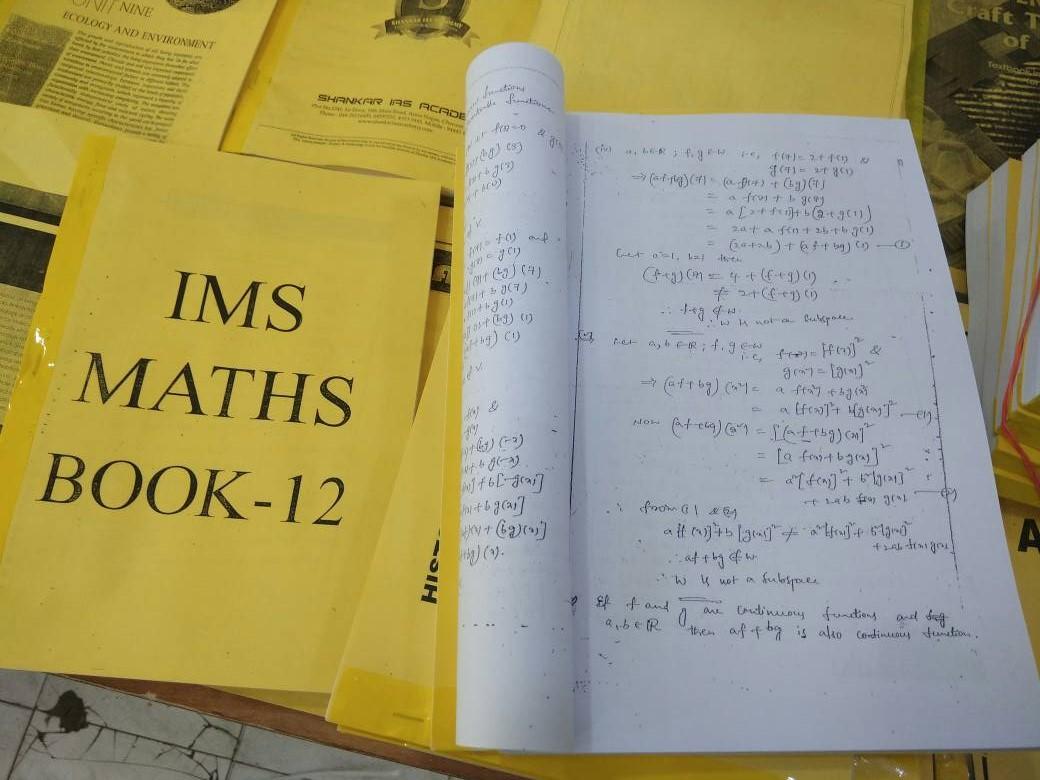 IMS Coaching – Maths Optional – Printed +Handwritten Notes - English Medium