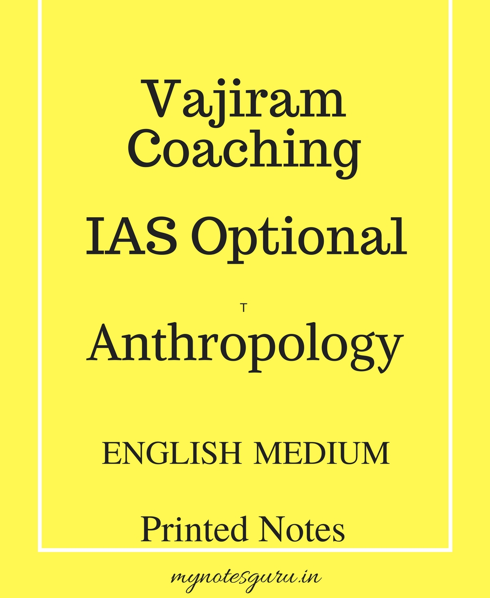 Vajiram Coaching - Anthropology Optional - Printed Notes - English Medium