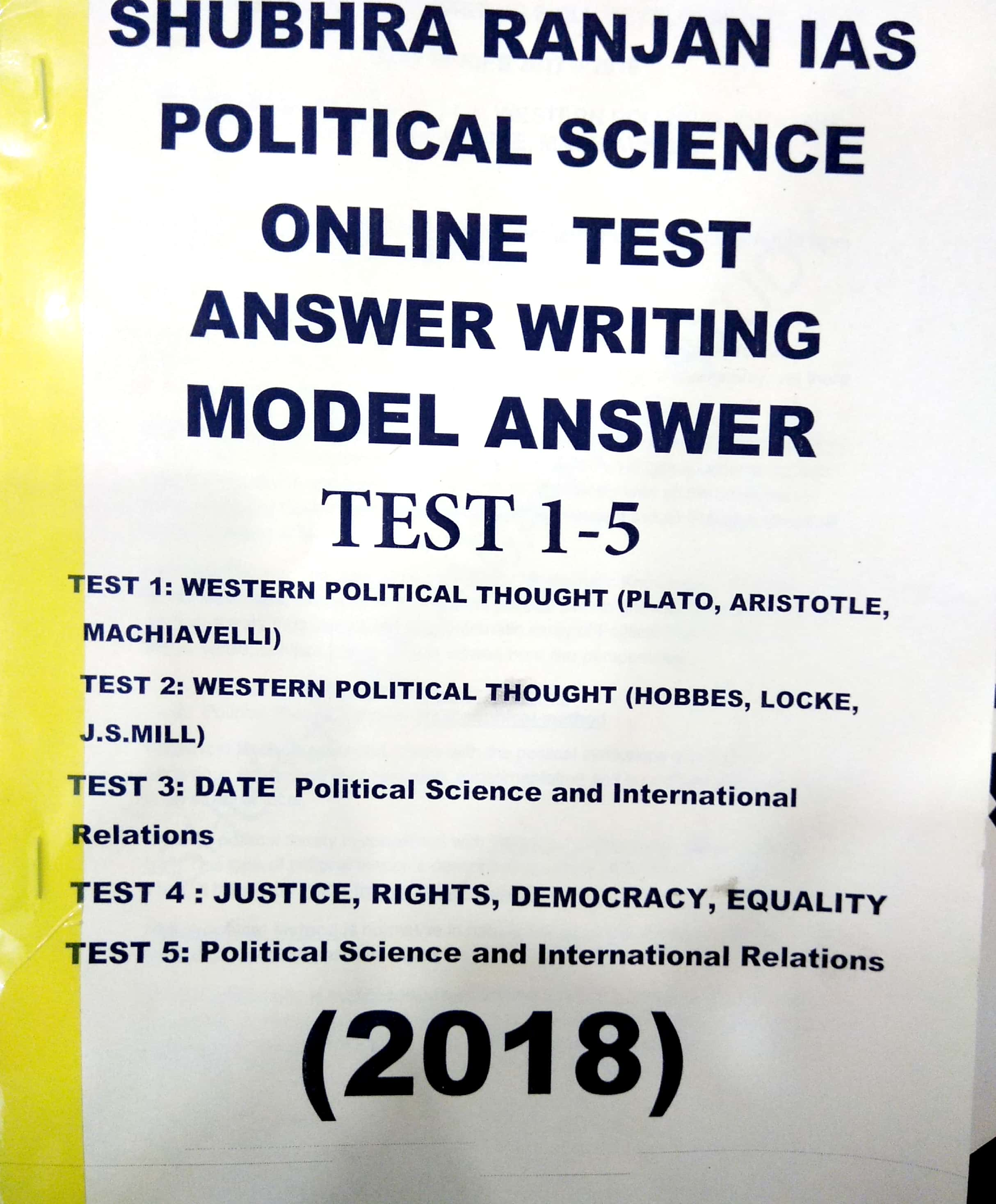 Shubhra Ranjan IAS - Political Science Optional Test Series (1 to 17 ) Test  - English Medium - Printed Material